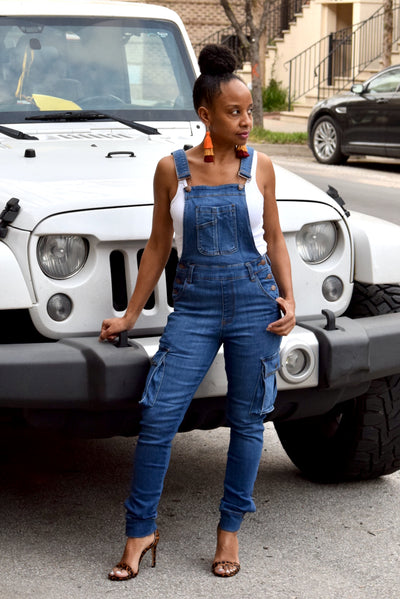 Denim Fitted Cargo Overalls