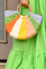 Half Moon Multi Color Straw Tote- Green