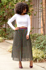 Shimmery Pleat Skirt