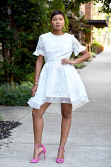 White Fit and Flare Embroidered Skater Dress