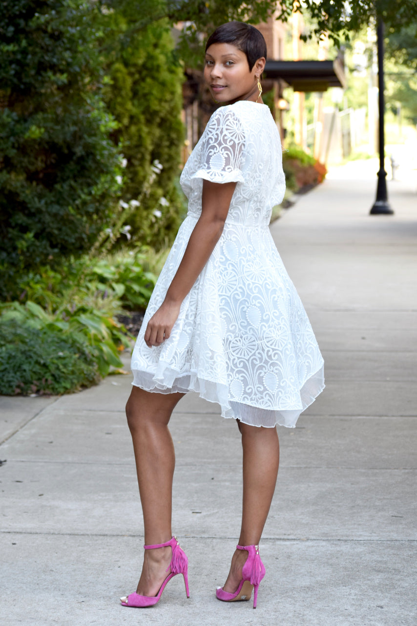Lace and Ruffle Skater Dress