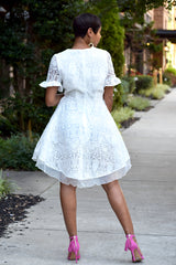 White Lace and Ruffle Skater Dress