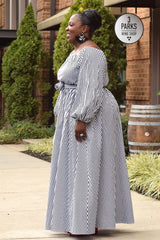 Plus Size Black and White Stripe Off the Shoulder Maxi Dress