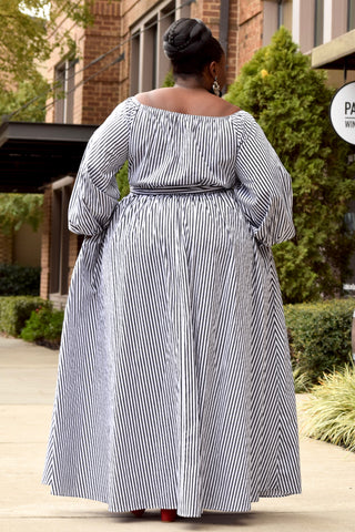 Curvy Stripe Off the Shoulder Maxi