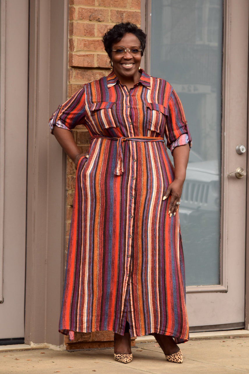 Curvy Painted Stripe Belted Shirt Dress