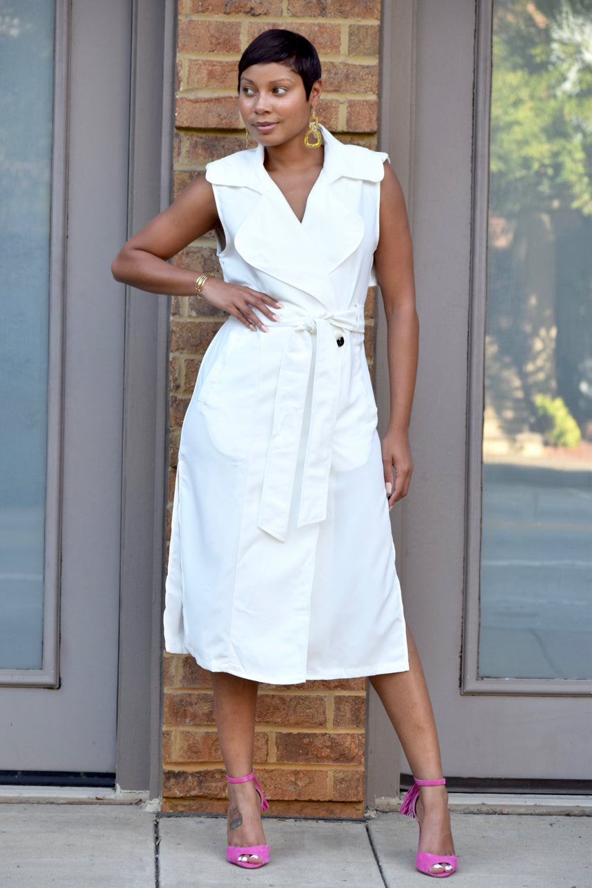 Double Breasted Side Split Trench Dress