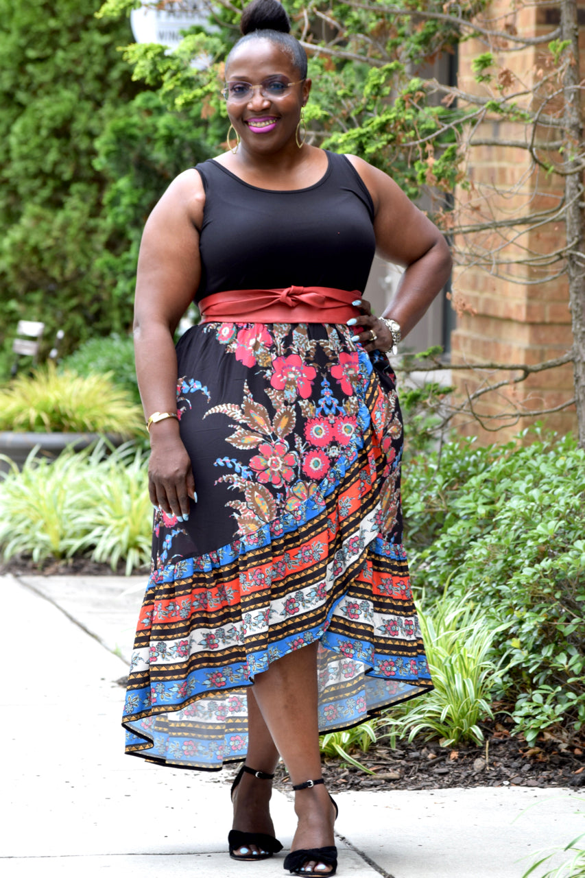 Curvy Hi Low Floral Skirt