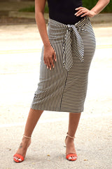 Stripe Tie Front Pencil Skirt
