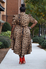 Curvy Leopard Hi Low Bow Dress