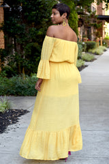 Yellow Lace Trim Off the Shoulder Maxi Dress