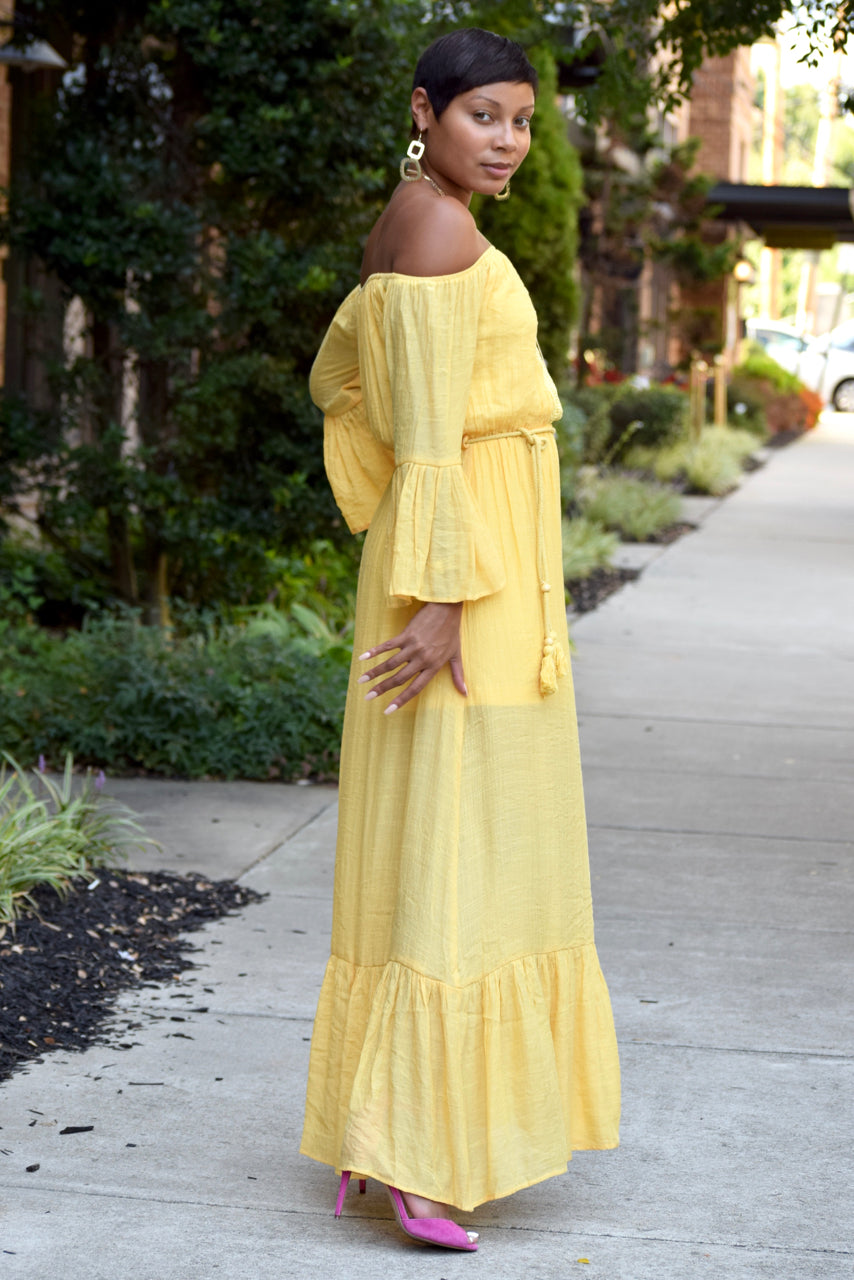 Yellow Lace Trim Off the Shoulder Maxi