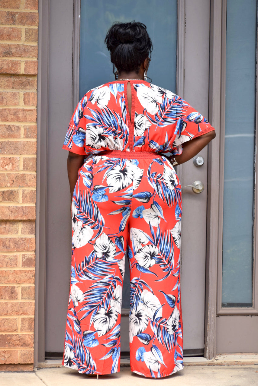 Red Tropical Deep V Jumpsuit