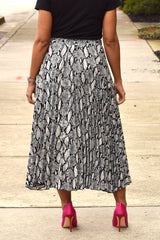Python Pleated Midi Skirt
