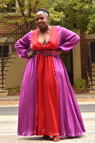 Curvy Plunging V Colorblock Maxi Dress