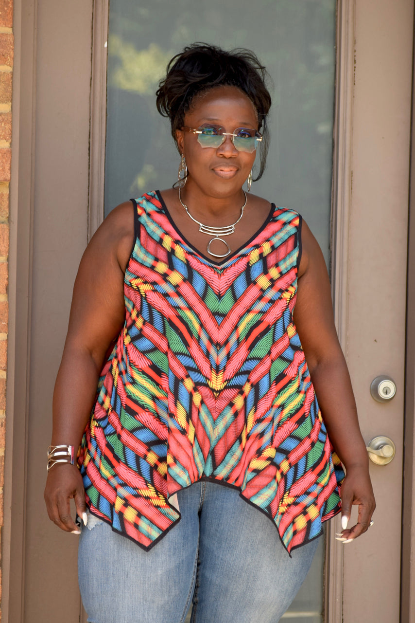 Colorful Curvy V-Neck Flare Tank