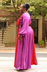 Plus Size Plunging V Colorblock Maxi Dress