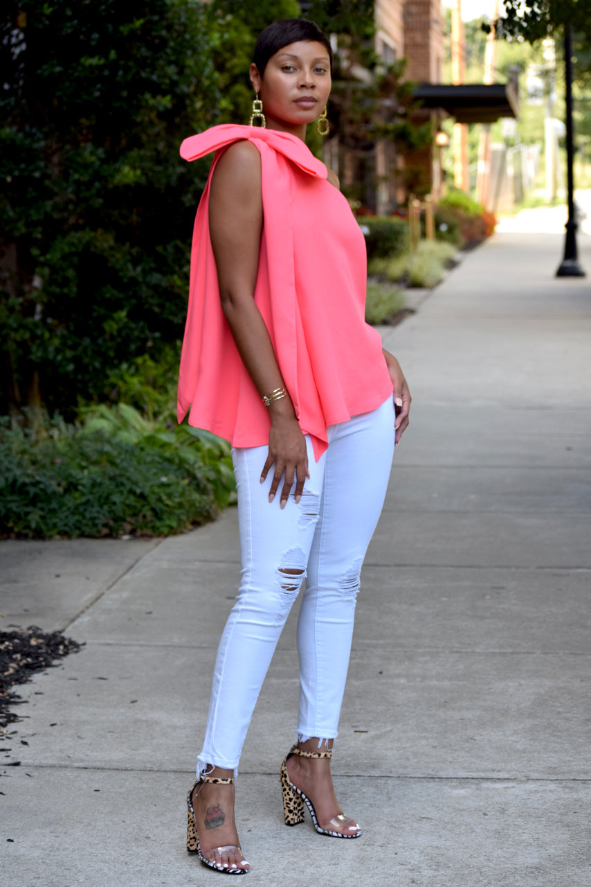 Coral One Shoulder Bow Flouncy Top