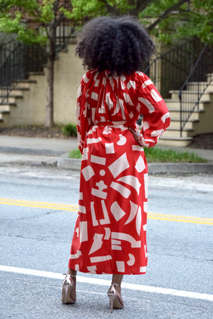Abstract Print Pleat Dress -Red