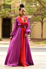 Plunging V Colorblock Maxi Dress