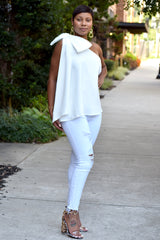 White One Shoulder Bow Flouncy Top