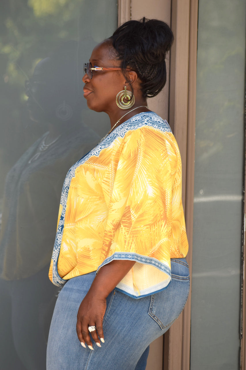 Yellow Curvy Ornate Print Wrap Top