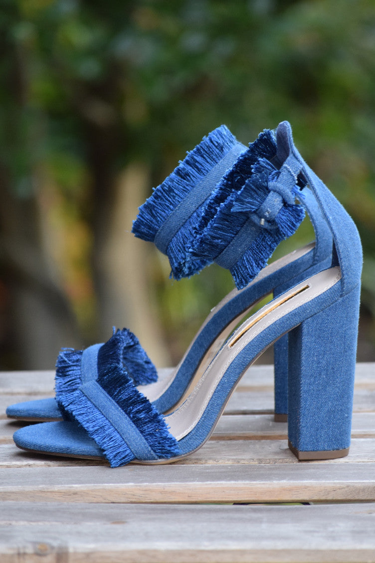 Denim Fringe Heel