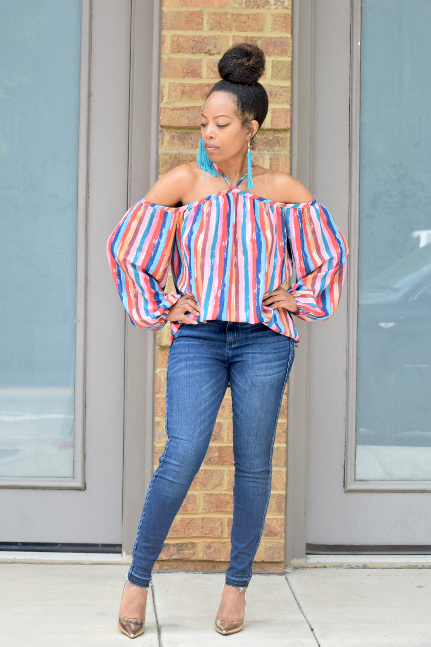 Candy Stripe Cold Shoulder Top