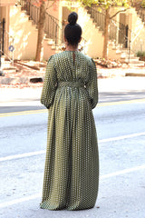 Polka Dot V Neck Maxi Dress