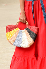 Half Moon Multi Color Straw Tote- Red