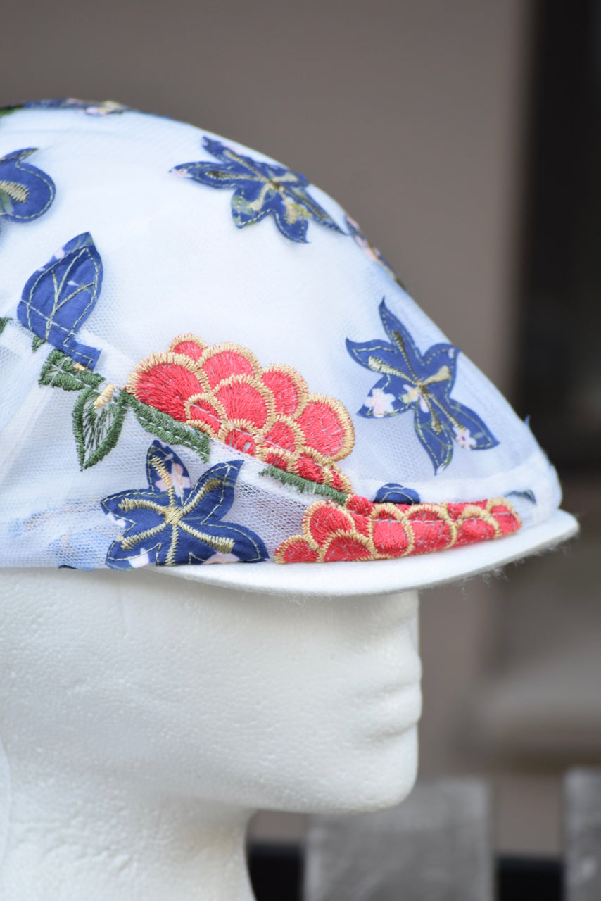 Ivy Cap- Mesh Red Blue Flower