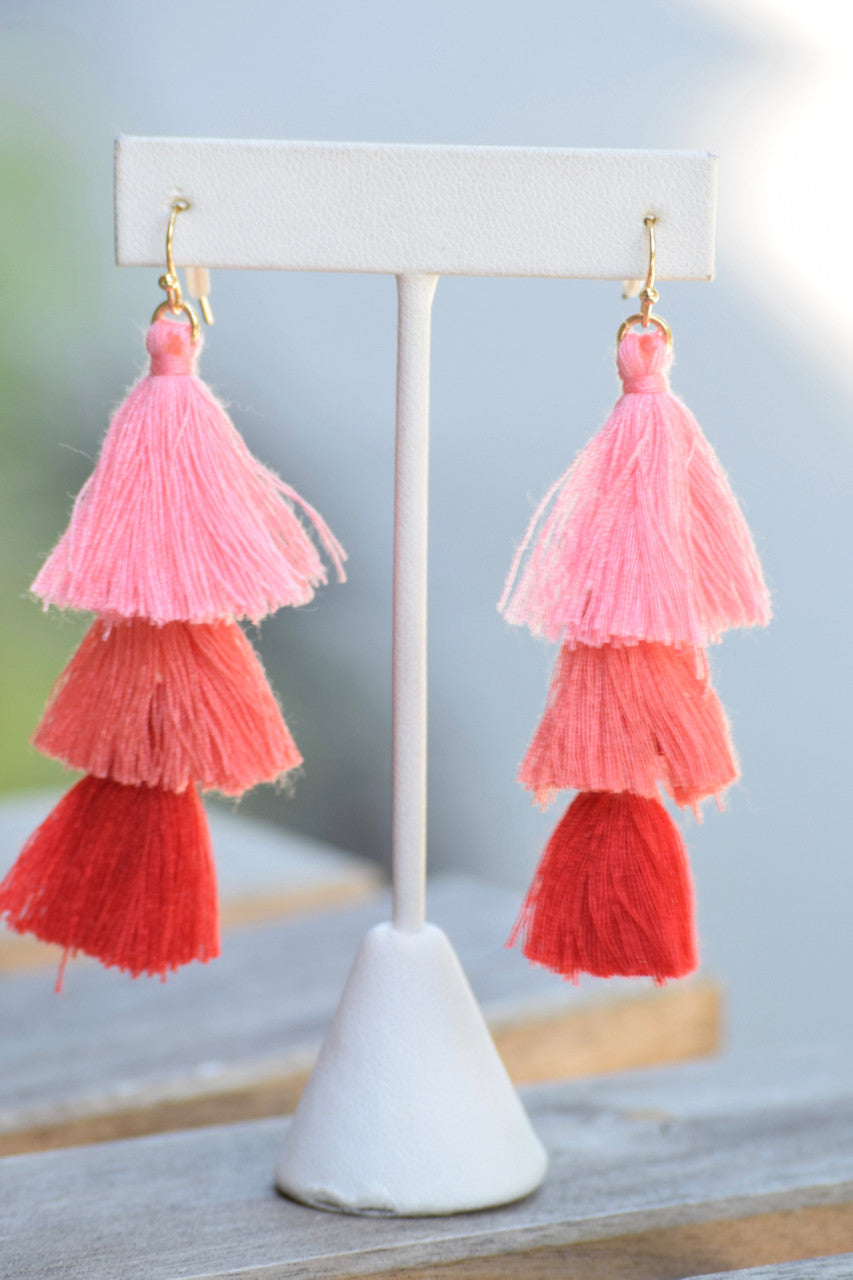 Tri Color Tassel Earrings