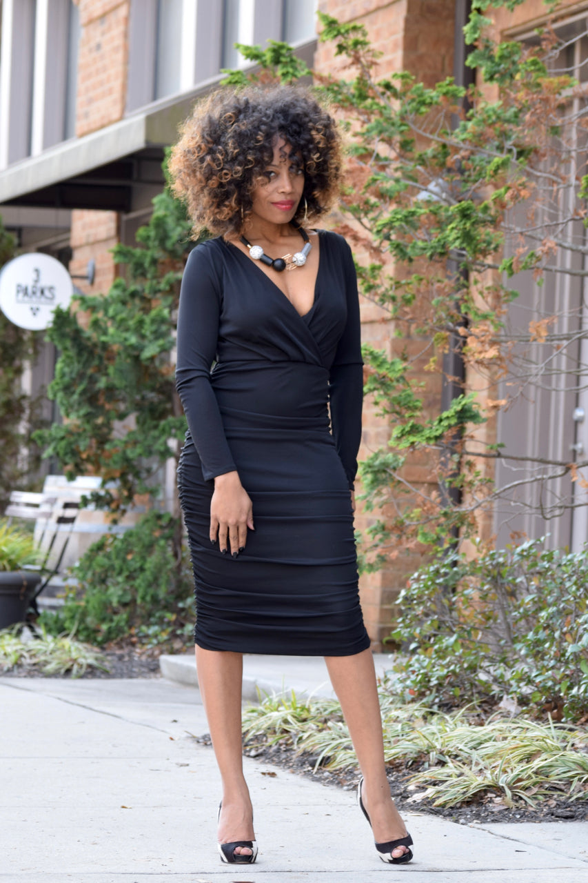 Ruched Black Dress