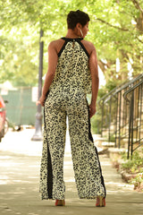 Beige and Black Leopard Halter Top and Racer Stripe Pants Set