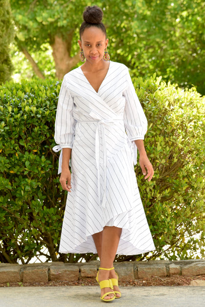 Pinstripe Hi Low Wrap Dress