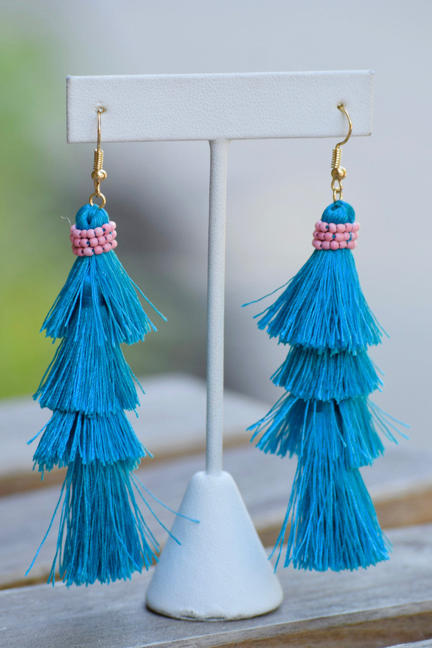 Beaded Layer Tassel Earrings - 2 colors