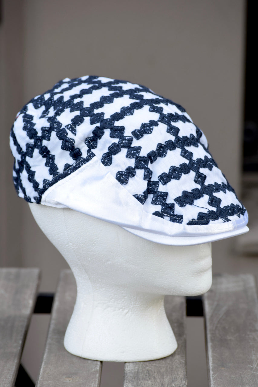 Ivy Cap- Embroidered Check Squares