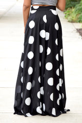 Polka Dot Split Maxi Skirt