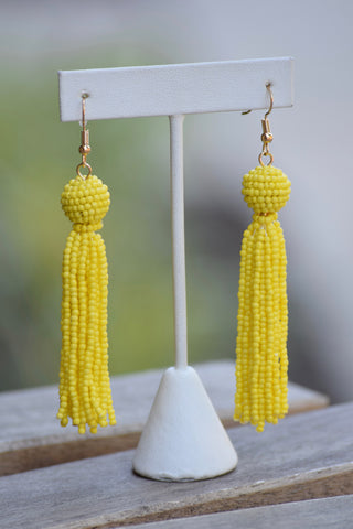 Bead Tassel Earrings -3 colors