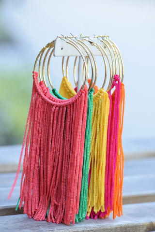 Fringe Hoop Earrings- 5 colors