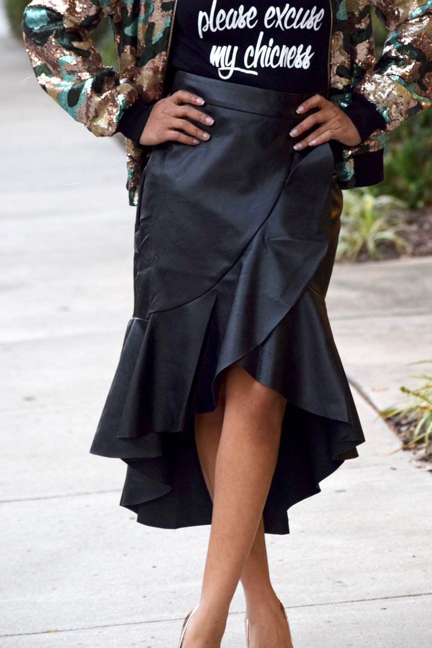 Ruffle Faux Leather Hi Low Skirt