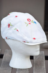 Ivy Cap- Net Embroidered Flowers