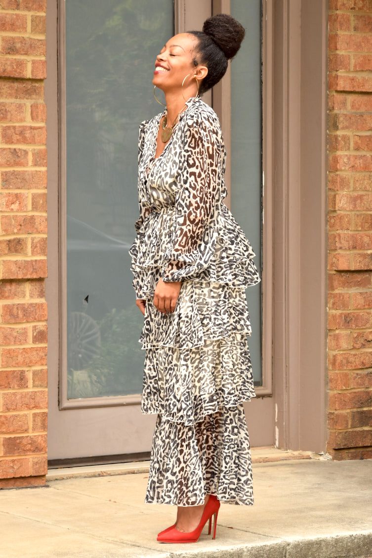 Leopard Tiered Ruffle Midi Dress