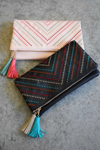 Color Woven V Clutch