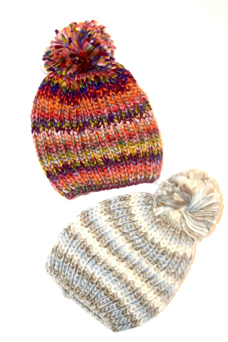 Stripe Puff Ball Beanie