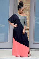 Colorblock Off Shoulder Maxi Dress