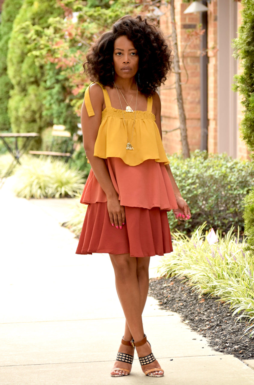 Colorblock Tiered Mini Dress