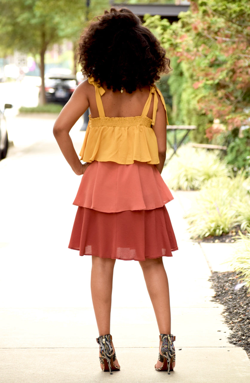 Fall Colorblock Tiered Dress