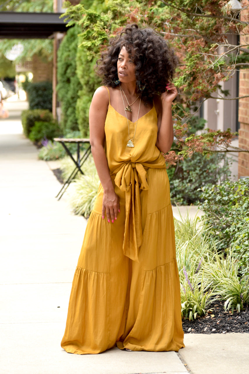 Yellow Tiered Wide Leg Pants Set