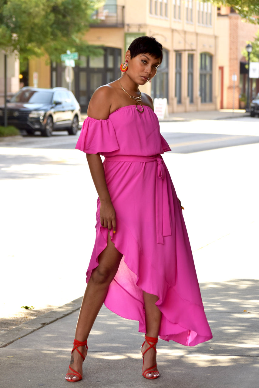 Fuchsia Off the Shoulder Hi Low Hem Maxi