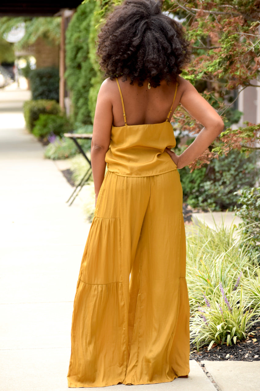Satin Tiered Wide Leg Pants Set